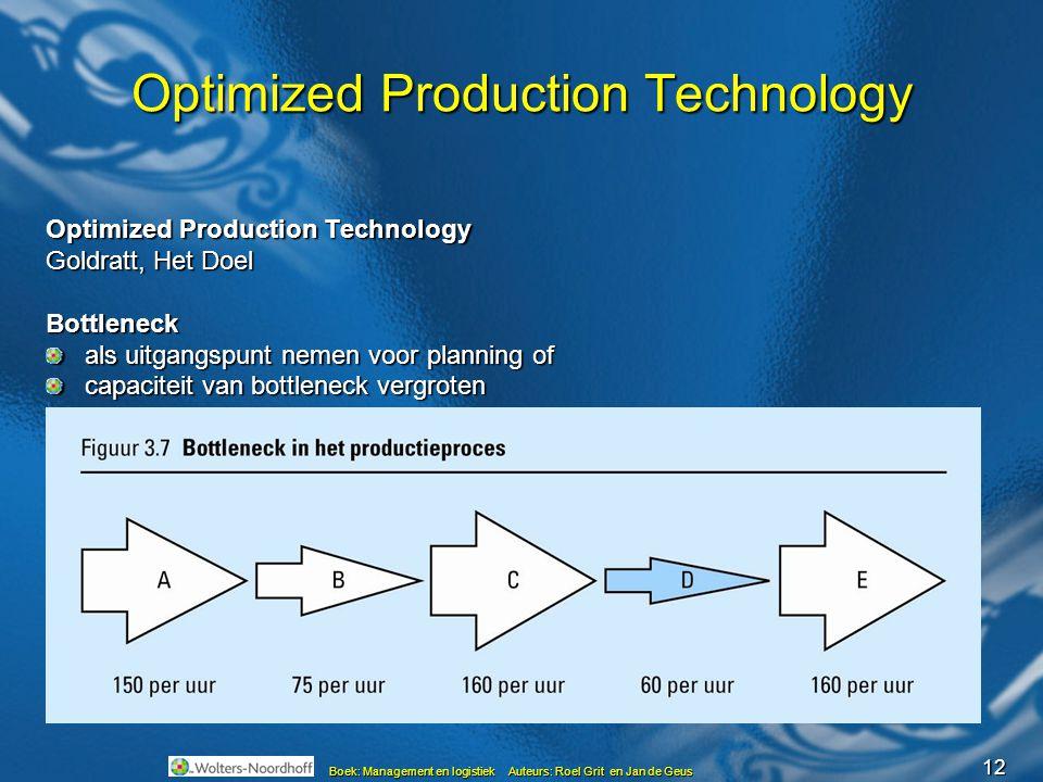 12 Boek: Management en logistiek Auteurs: Roel Grit en Jan de Geus Optimized Production Technology Goldratt, Het Doel Bottleneck als uitgangspunt neme