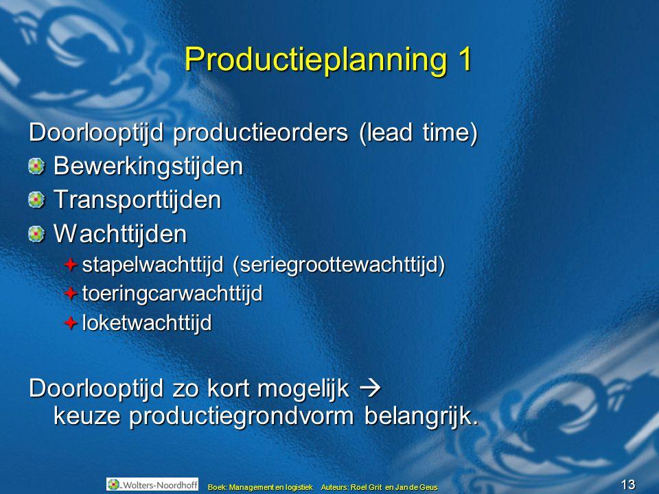 13 Boek: Management en logistiek Auteurs: Roel Grit en Jan de Geus Productieplanning 1 Doorlooptijd productieorders (lead time) BewerkingstijdenTransp