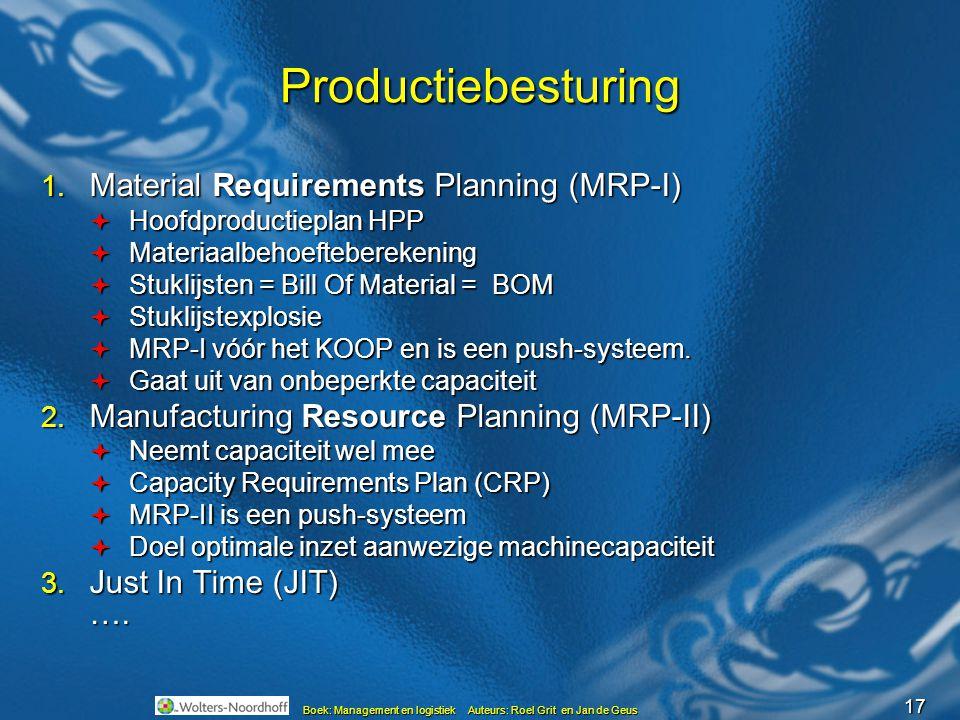 17 Boek: Management en logistiek Auteurs: Roel Grit en Jan de Geus Productiebesturing 1. Material Requirements Planning (MRP-I)  Hoofdproductieplan H