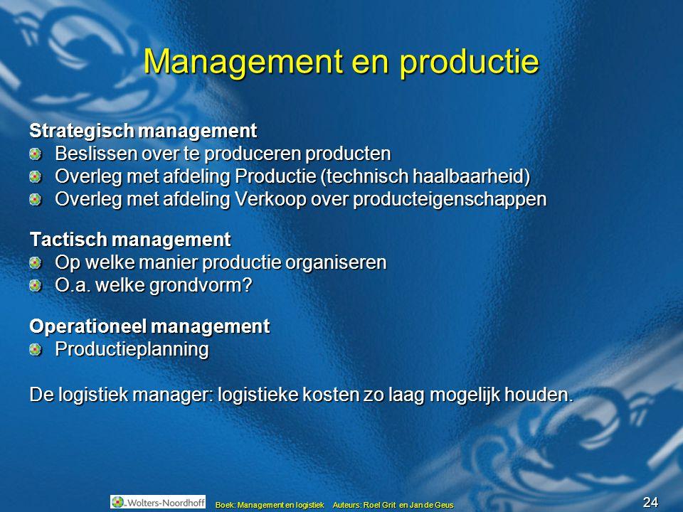 24 Boek: Management en logistiek Auteurs: Roel Grit en Jan de Geus Management en productie Strategisch management Beslissen over te produceren product