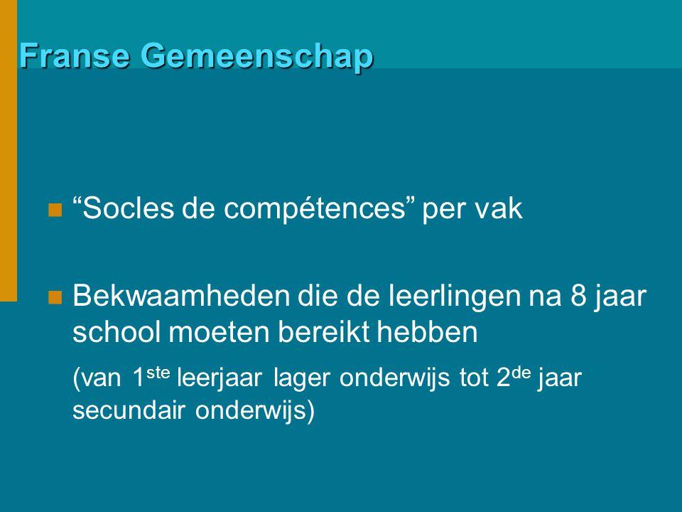 Franse Gemeenschap Socles de compétences per vak Bekwaamheden die de leerlingen na 8 jaar school moeten bereikt hebben (van 1 ste leerjaar lager onderwijs tot 2 de jaar secundair onderwijs)