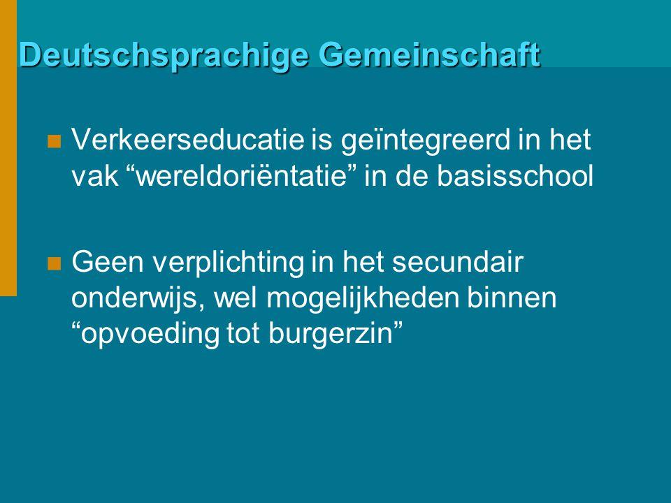 Deutschsprachige Gemeinschaft Verkeerseducatie is geïntegreerd in het vak wereldoriëntatie in de basisschool Geen verplichting in het secundair onderwijs, wel mogelijkheden binnen opvoeding tot burgerzin