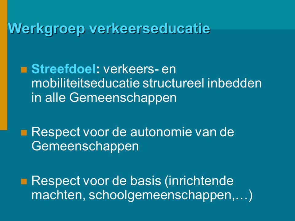 Werkgroep verkeerseducatie Streefdoel: verkeers- en mobiliteitseducatie structureel inbedden in alle Gemeenschappen Respect voor de autonomie van de Gemeenschappen Respect voor de basis (inrichtende machten, schoolgemeenschappen,…)