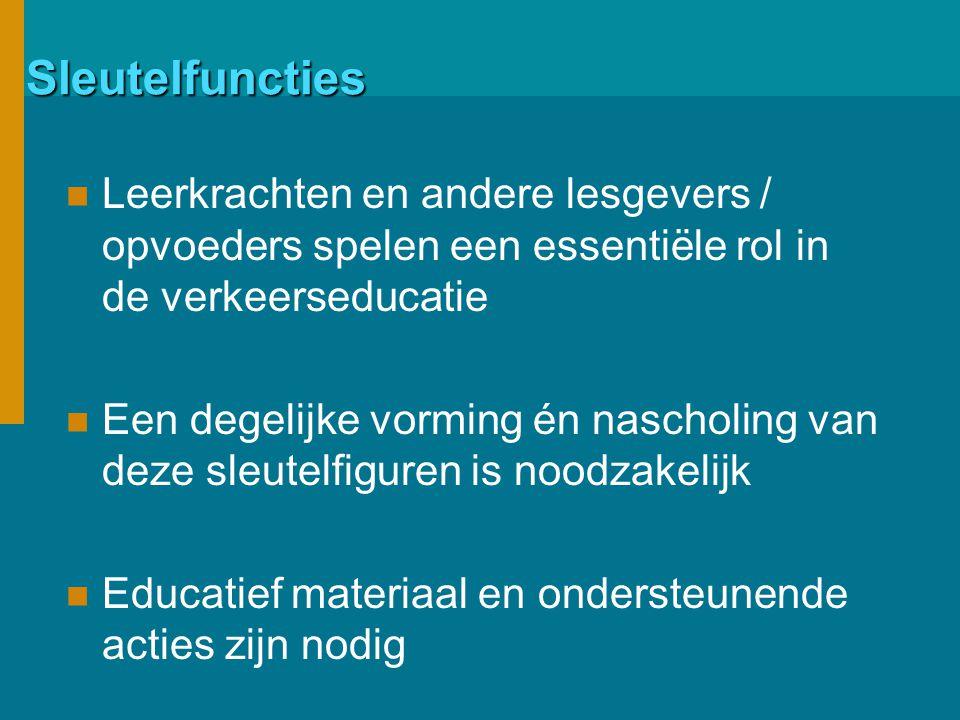 Sleutelfuncties Leerkrachten en andere lesgevers / opvoeders spelen een essentiële rol in de verkeerseducatie Een degelijke vorming én nascholing van deze sleutelfiguren is noodzakelijk Educatief materiaal en ondersteunende acties zijn nodig
