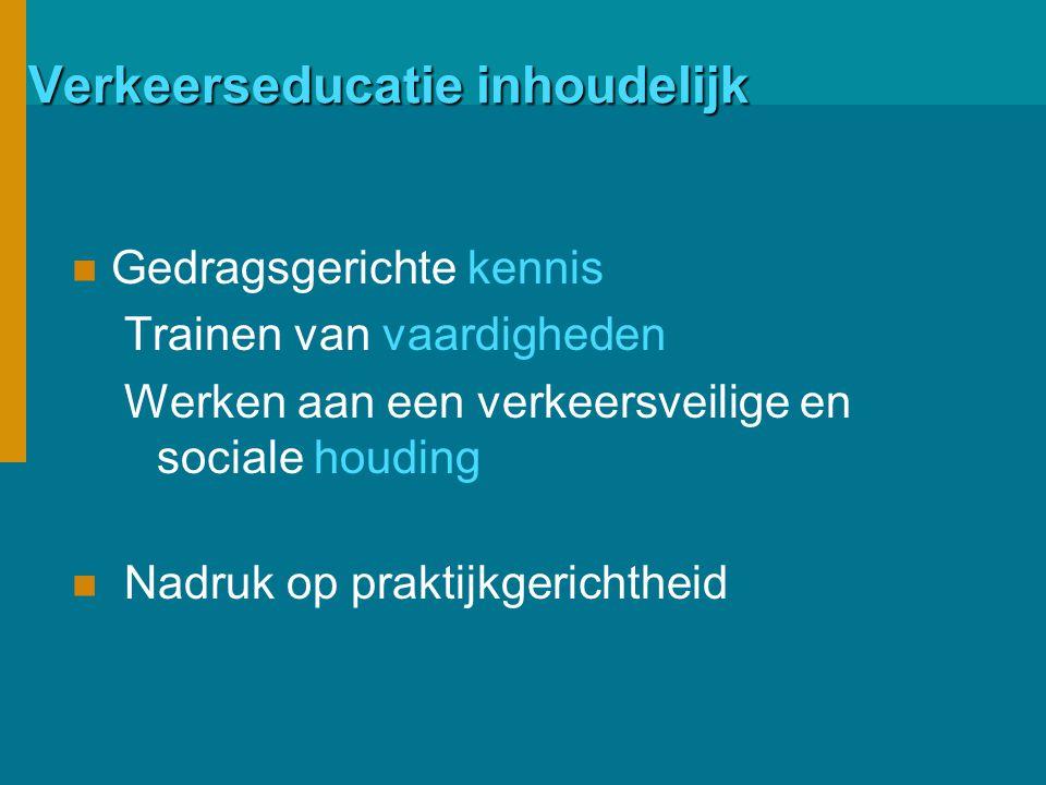 Verkeerseducatie inhoudelijk Gedragsgerichte kennis Trainen van vaardigheden Werken aan een verkeersveilige en sociale houding Nadruk op praktijkgerichtheid