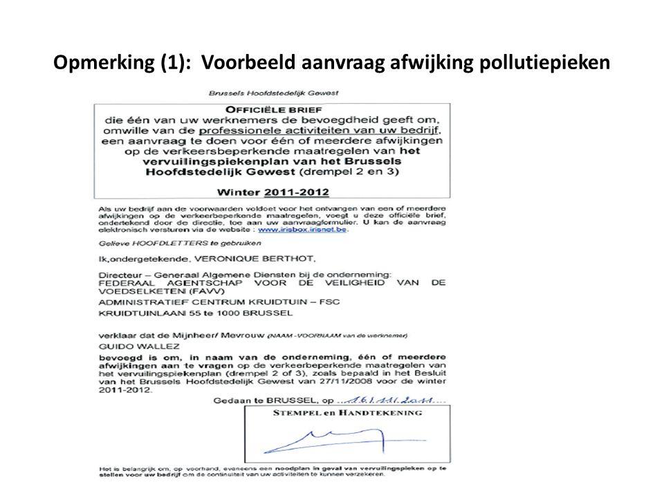 Opmerking (1): Voorbeeld aanvraag afwijking pollutiepieken