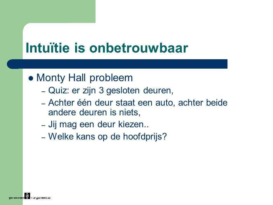 Intuïtie is onbetrouwbaar Monty Hall probleem – Quiz: er zijn 3 gesloten deuren, – Achter één deur staat een auto, achter beide andere deuren is niets