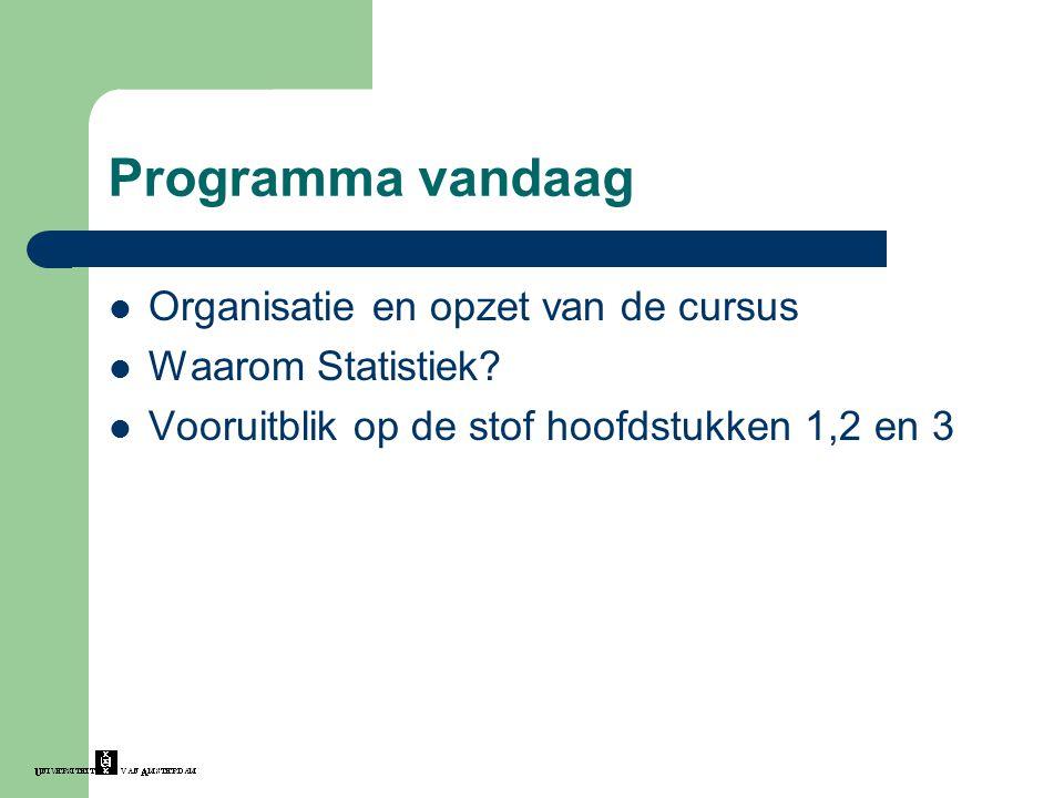Programma vandaag Organisatie en opzet van de cursus Waarom Statistiek? Vooruitblik op de stof hoofdstukken 1,2 en 3