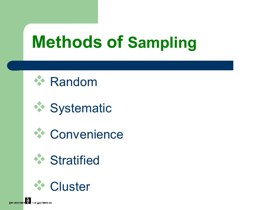  Random  Systematic  Convenience  Stratified  Cluster Methods of Sampling