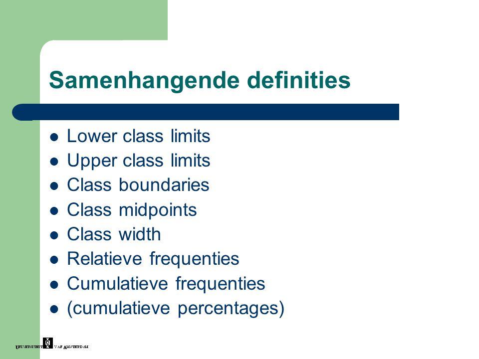 Samenhangende definities Lower class limits Upper class limits Class boundaries Class midpoints Class width Relatieve frequenties Cumulatieve frequent
