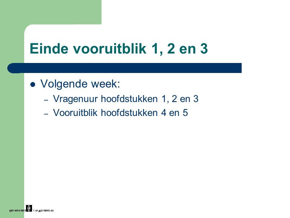 Einde vooruitblik 1, 2 en 3 Volgende week: – Vragenuur hoofdstukken 1, 2 en 3 – Vooruitblik hoofdstukken 4 en 5