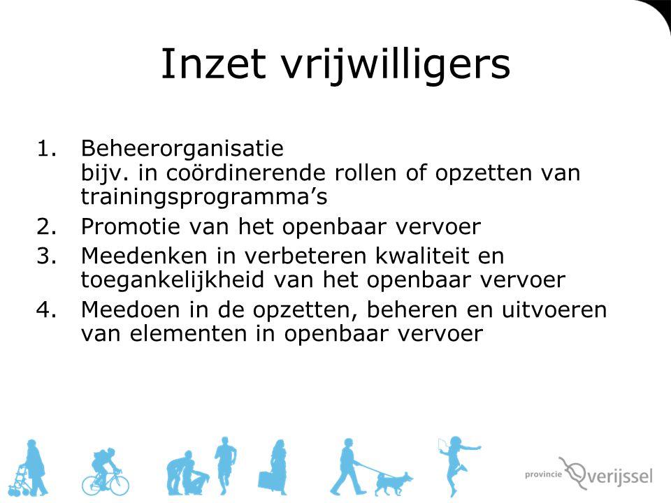 Planning Inzet eerste vrijwilligers in september Meer info over dit project: http://www.overijssel.nl/ovambassadeur