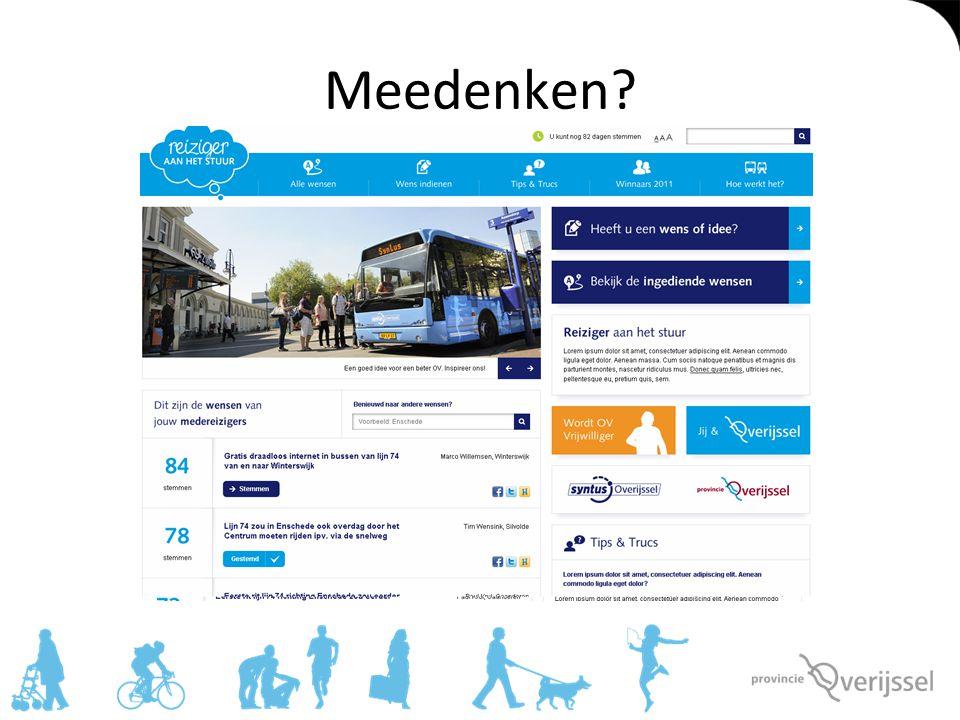 OV op het platteland 'Je komt overal met het OV in Overijssel' Is er geen (buurtbus) dan is er Regiotaxi Toch staat de dienstverlening door bus/regiotaxi door bezuinigingen/krimp onder druk: samen op zoek naar mogelijke alternatieven
