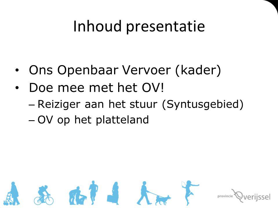 Inhoud presentatie Ons Openbaar Vervoer (kader) Doe mee met het OV! – Reiziger aan het stuur (Syntusgebied) – OV op het platteland