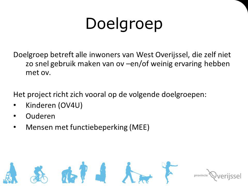 Doelgroep Doelgroep betreft alle inwoners van West Overijssel, die zelf niet zo snel gebruik maken van ov –en/of weinig ervaring hebben met ov. Het pr