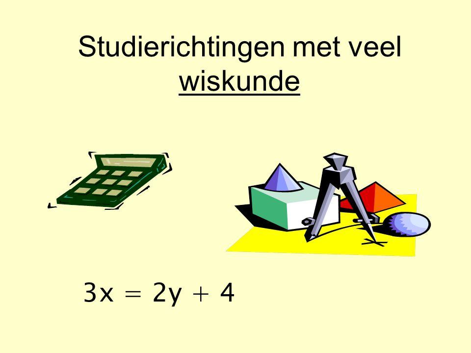 Studierichtingen met veel wiskunde 3x = 2y + 4