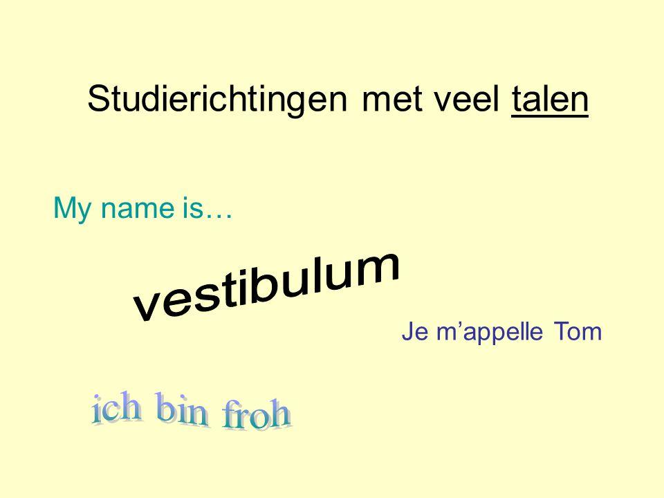 Studierichtingen met veel talen Je m'appelle Tom My name is…