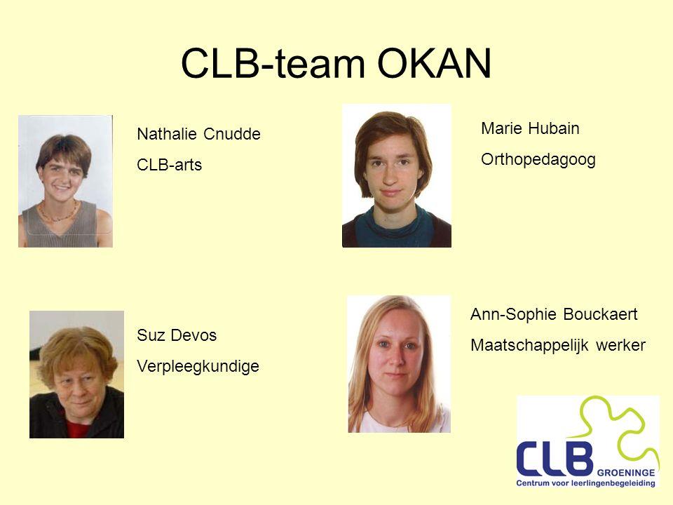 CLB-team OKAN Nathalie Cnudde CLB-arts Ann-Sophie Bouckaert Maatschappelijk werker Marie Hubain Orthopedagoog Suz Devos Verpleegkundige