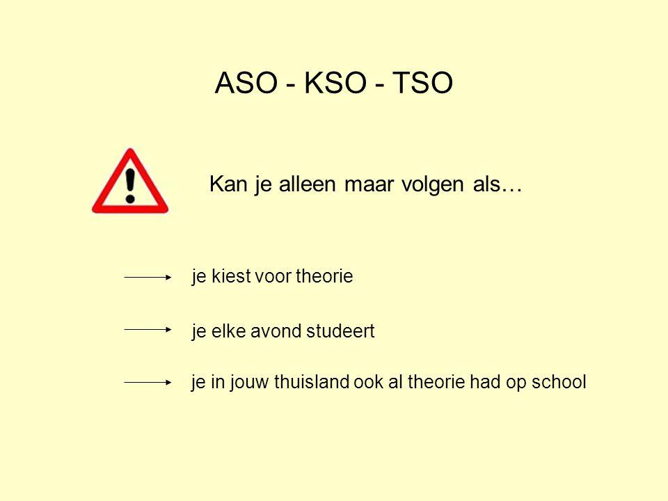ASO - KSO - TSO Kan je alleen maar volgen als… je kiest voor theorie je elke avond studeert je in jouw thuisland ook al theorie had op school