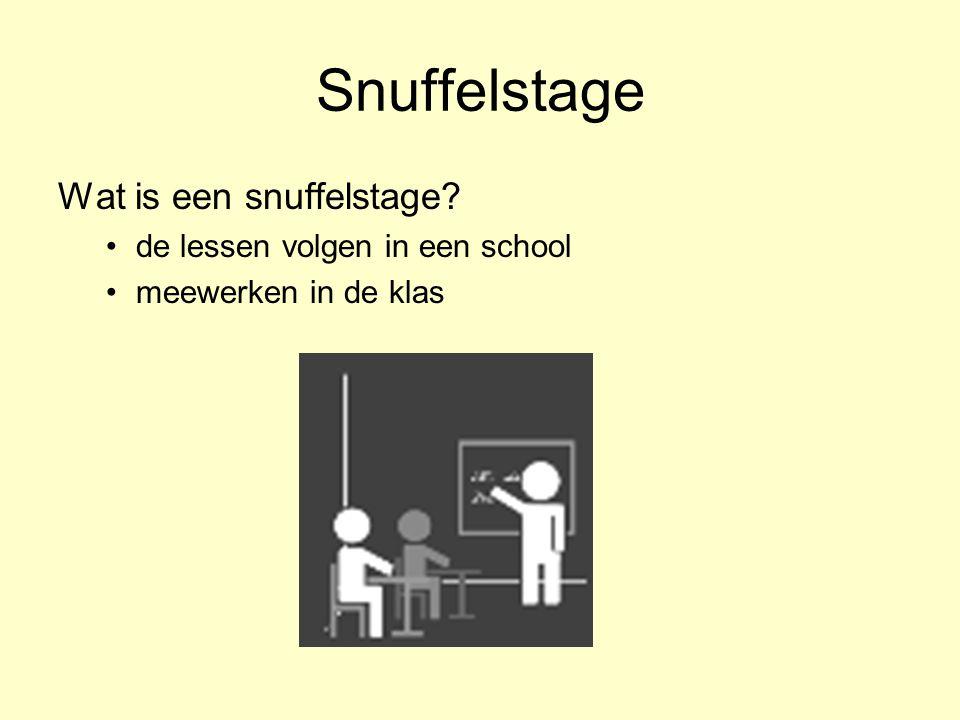 Snuffelstage Wat is een snuffelstage? de lessen volgen in een school meewerken in de klas