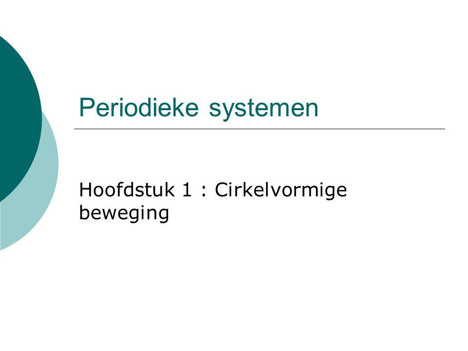 Periodieke systemen Hoofdstuk 1 : Cirkelvormige beweging