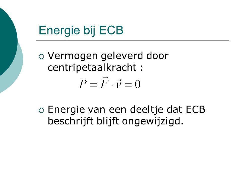 Energie bij ECB  Vermogen geleverd door centripetaalkracht :  Energie van een deeltje dat ECB beschrijft blijft ongewijzigd.