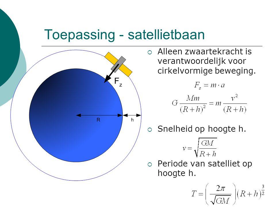 Toepassing - satellietbaan  Alleen zwaartekracht is verantwoordelijk voor cirkelvormige beweging.  Snelheid op hoogte h.  Periode van satelliet op
