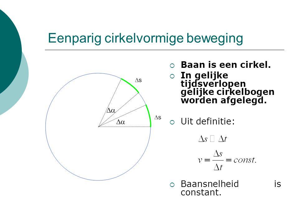Eenparig cirkelvormige beweging  Baan is een cirkel.  In gelijke tijdsverlopen gelijke cirkelbogen worden afgelegd.  Uit definitie:  Baansnelheid