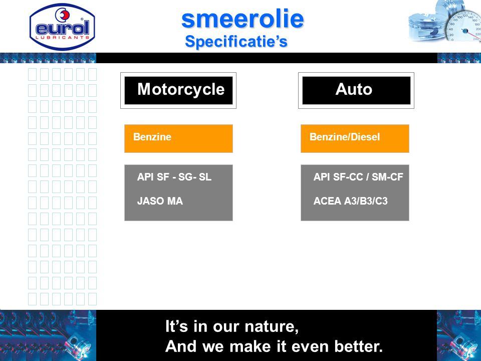 MotorcycleAuto Basis olie mineraal Basis olie : HC BenzineBenzine/Diesel API SF - SG- SL JASO MA API SF-CC / SM-CF ACEA A3/B3/C3 It's in our nature, A