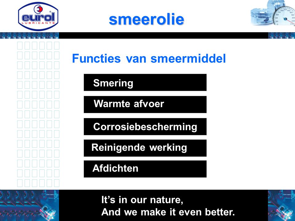 smeerolie It's in our nature, And we make it even better.