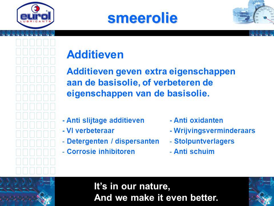 Additievensmeerolie Additieven geven extra eigenschappen aan de basisolie, of verbeteren de eigenschappen van de basisolie. - Anti slijtage additieven
