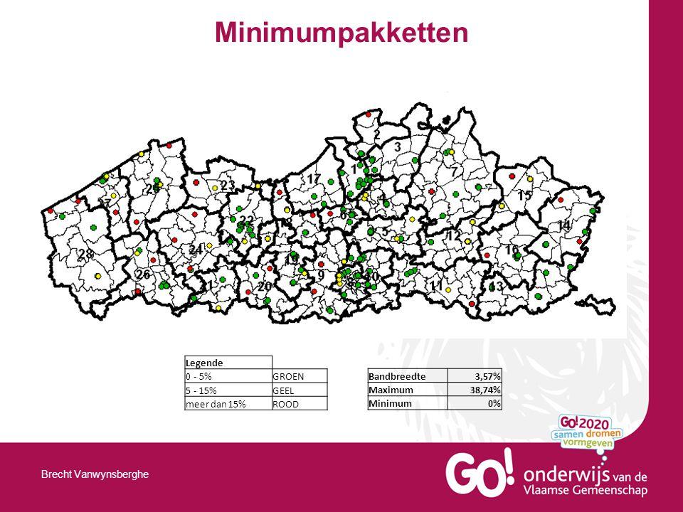 Minimumpakketten Brecht Vanwynsberghe Legende 0 - 5%GROEN 5 - 15%GEEL meer dan 15%ROOD Bandbreedte3,57% Maximum38,74% Minimum0%