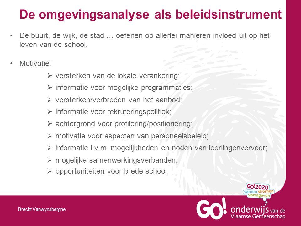 De omgevingsanalyse als beleidsinstrument De buurt, de wijk, de stad … oefenen op allerlei manieren invloed uit op het leven van de school.