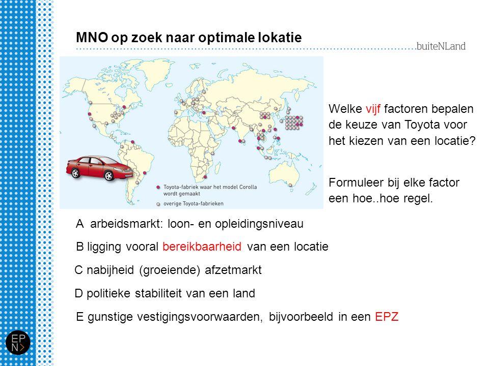 MNO op zoek naar optimale lokatie Welke vijf factoren bepalen de keuze van Toyota voor het kiezen van een locatie? A arbeidsmarkt: loon- en opleidings