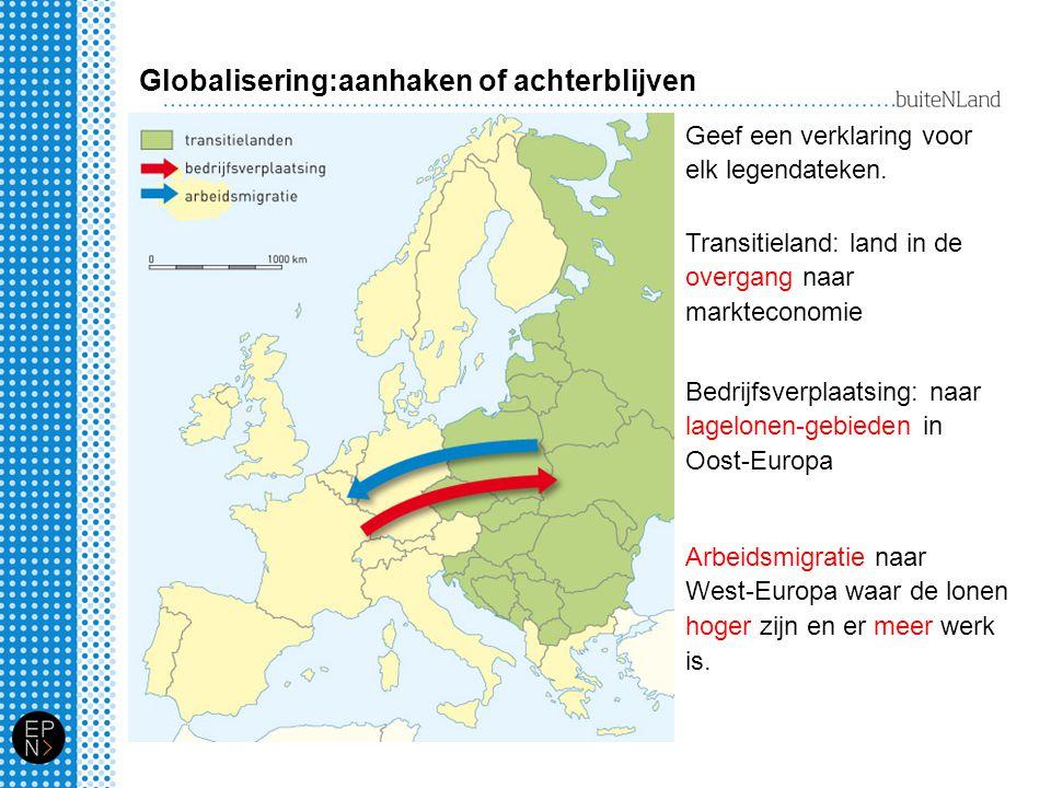 Globalisering:aanhaken of achterblijven Geef een verklaring voor elk legendateken. Transitieland: land in de overgang naar markteconomie Bedrijfsverpl
