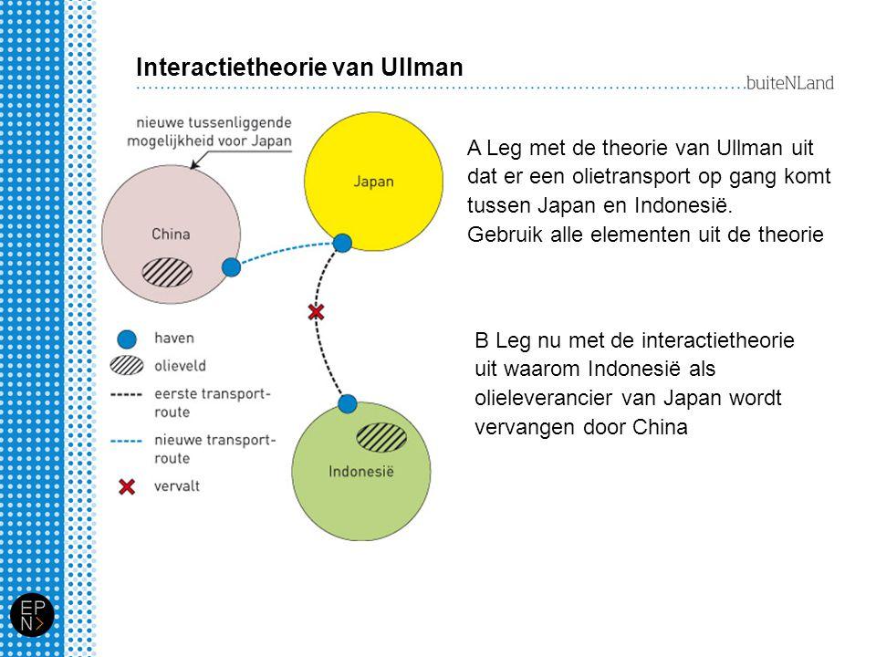 Interactietheorie van Ullman A Leg met de theorie van Ullman uit dat er een olietransport op gang komt tussen Japan en Indonesië. Gebruik alle element