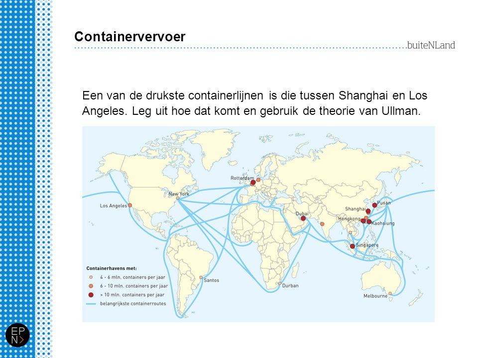 Containervervoer Een van de drukste containerlijnen is die tussen Shanghai en Los Angeles. Leg uit hoe dat komt en gebruik de theorie van Ullman.