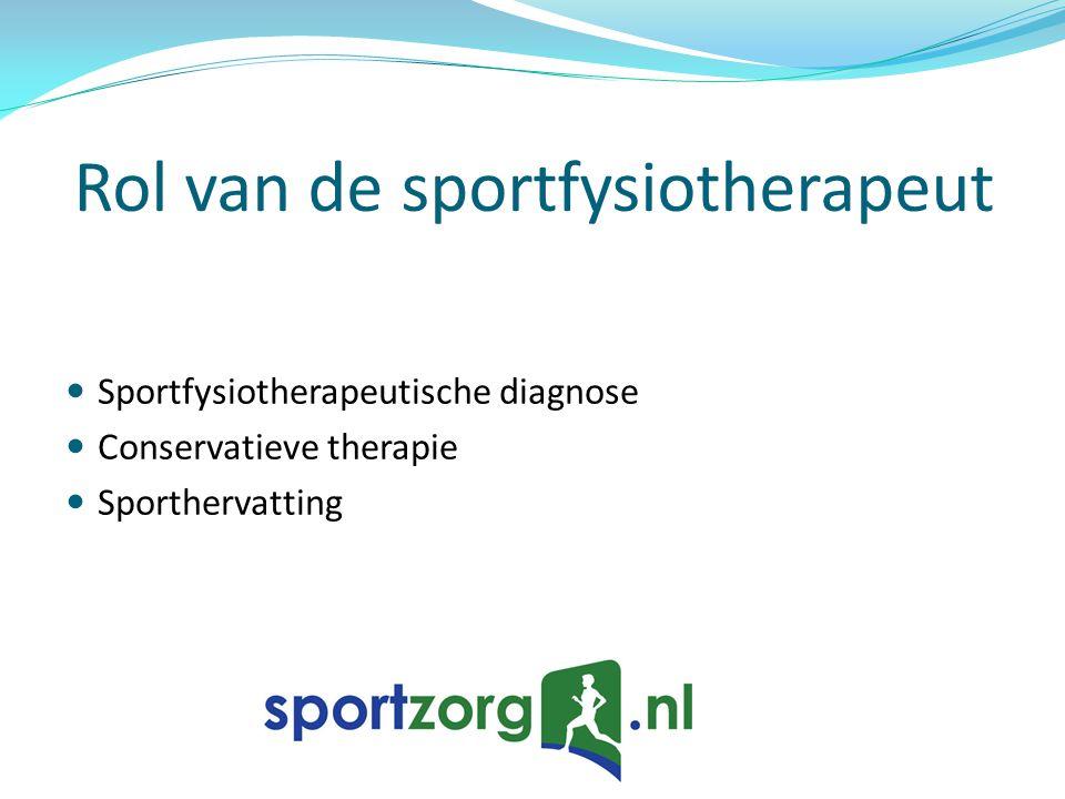 Rol van de sportfysiotherapeut Sportfysiotherapeutische diagnose Conservatieve therapie Sporthervatting