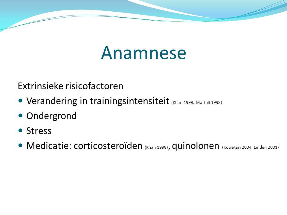Anamnese Extrinsieke risicofactoren Verandering in trainingsintensiteit (Khan 1998, Maffuli 1998) Ondergrond Stress Medicatie: corticosteroïden (Khan 1998), quinolonen (Kowatari 2004, Linden 2001)
