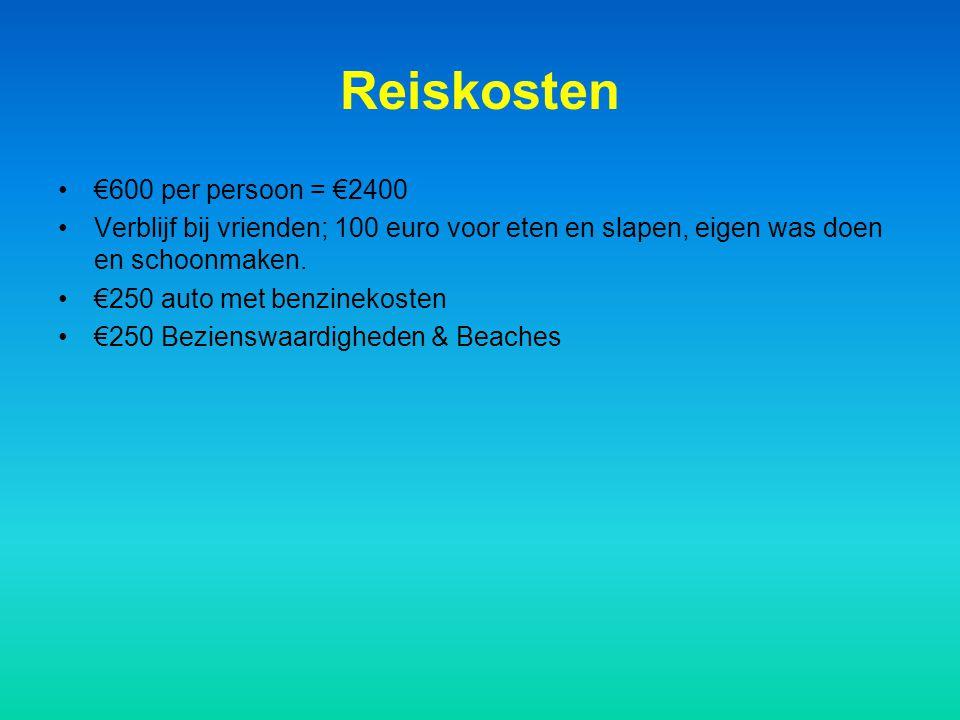Reiskosten €600 per persoon = €2400 Verblijf bij vrienden; 100 euro voor eten en slapen, eigen was doen en schoonmaken. €250 auto met benzinekosten €2