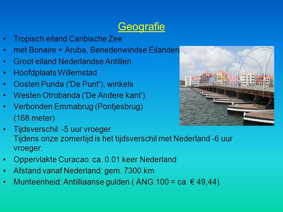 Geografie Tropisch eiland Caribische Zee met Bonaire + Aruba, Benedenwindse Eilanden Groot eiland Nederlandse Antillen Hoofdplaats Willemstad Oosten P