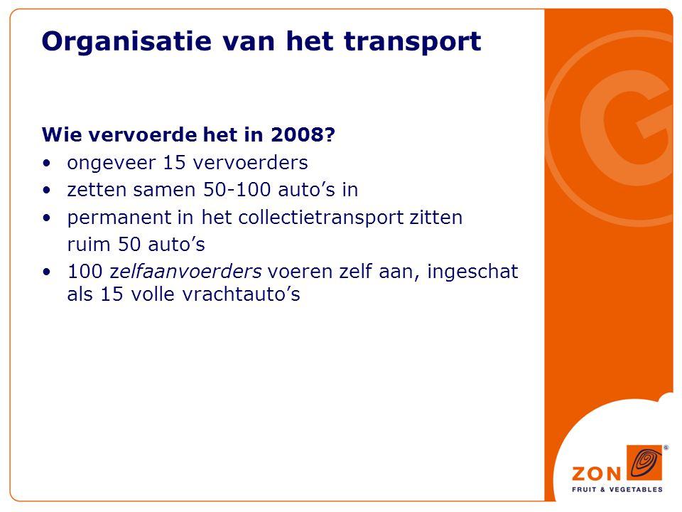 Organisatie van het transport Wie vervoerde het in 2008.