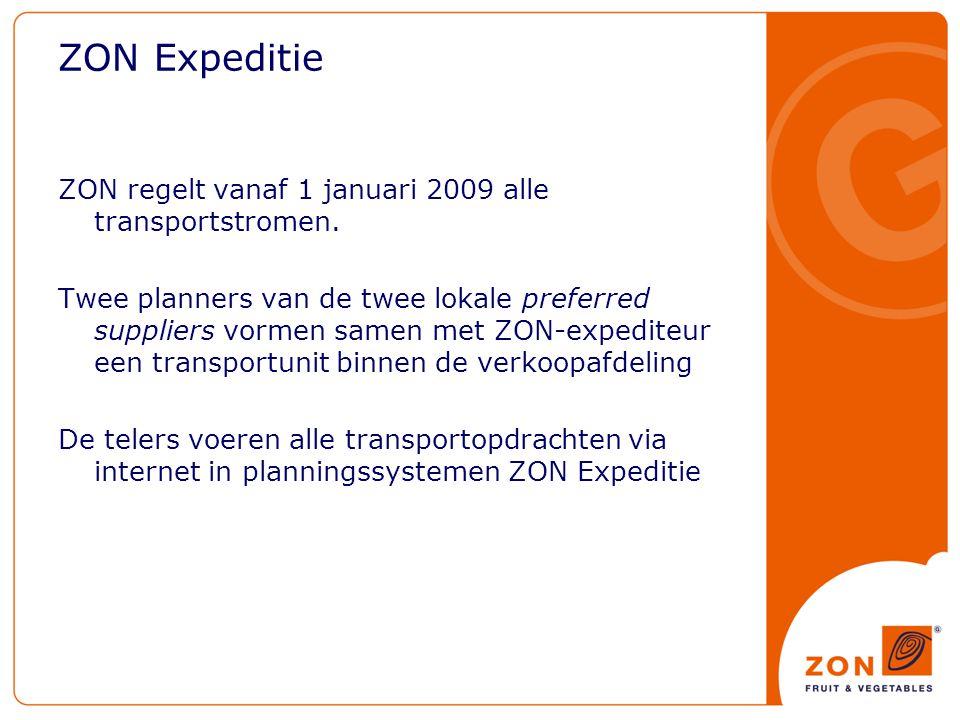 ZON Expeditie ZON regelt vanaf 1 januari 2009 alle transportstromen.