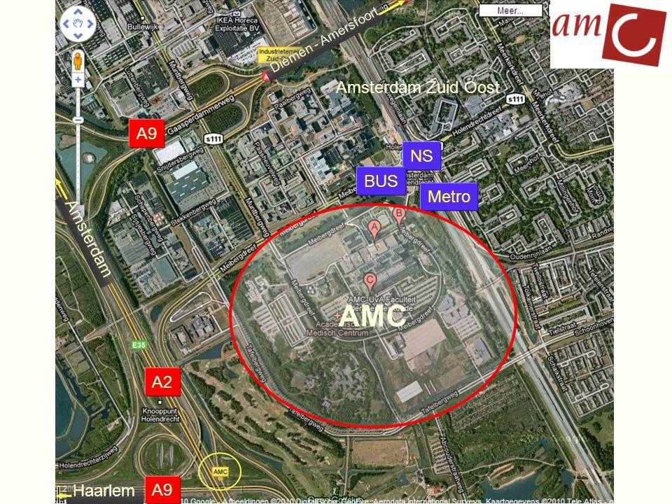 Enkele cijfers: 450.000 m 2 BVO 7.200 medewerkers – 6.000 FTE in AMC derden op terrein ~ 800 werknemers 2.300 studenten 400.000 polibezoeken per jaar 200.000 verpleegdagen per jaar P6 P5 P3 P2 P4 P1