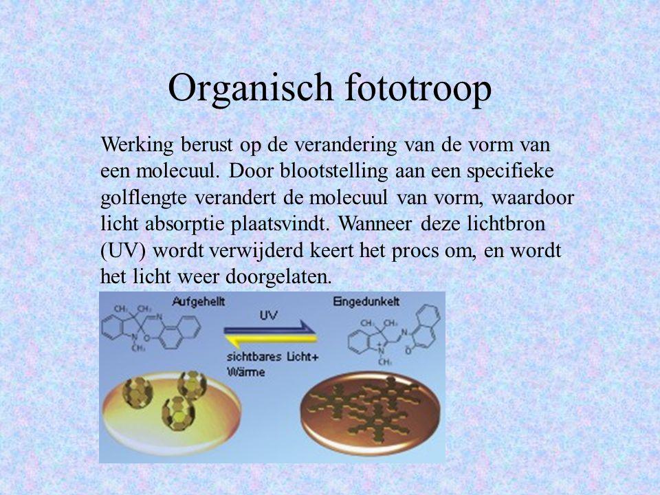 Organisch fototroop Werking berust op de verandering van de vorm van een molecuul.