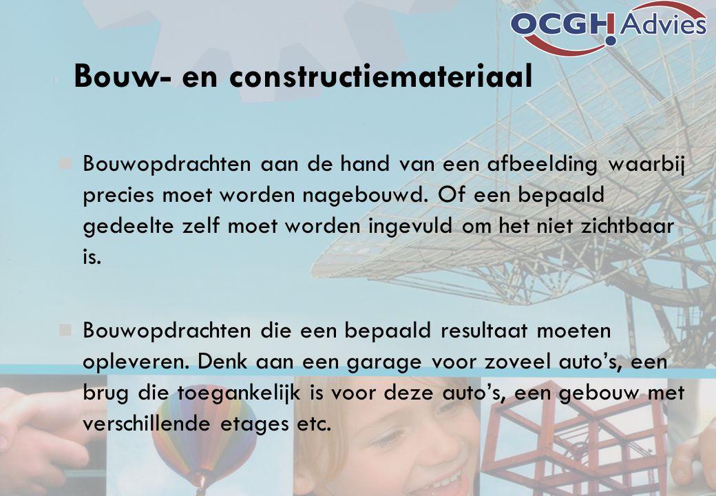 Bouw- en constructiemateriaal Bouwopdrachten aan de hand van een afbeelding waarbij precies moet worden nagebouwd.