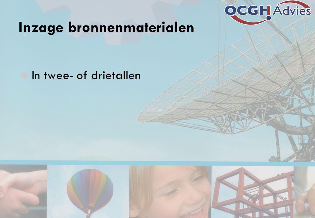 Inzage bronnenmaterialen In twee- of drietallen