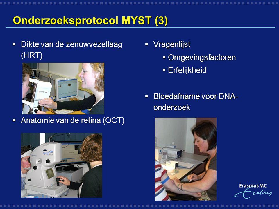 Onderzoeksprotocol MYST (3)  Dikte van de zenuwvezellaag (HRT)  Anatomie van de retina (OCT)  Vragenlijst  Omgevingsfactoren  Erfelijkheid  Bloe