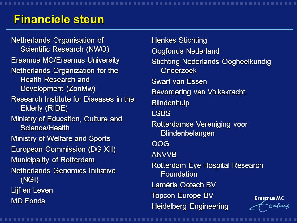 Financiele steun Netherlands Organisation of Scientific Research (NWO) Erasmus MC/Erasmus University Netherlands Organization for the Health Research