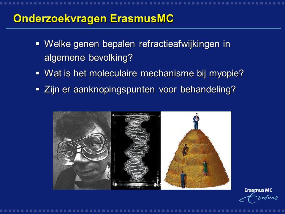 Onderzoekvragen ErasmusMC  Welke genen bepalen refractieafwijkingen in algemene bevolking?  Wat is het moleculaire mechanisme bij myopie?  Zijn er